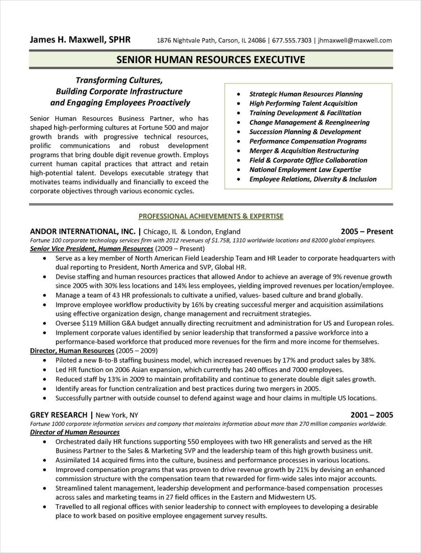example for training in resume