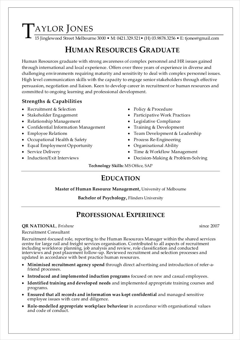 sample resume graduate