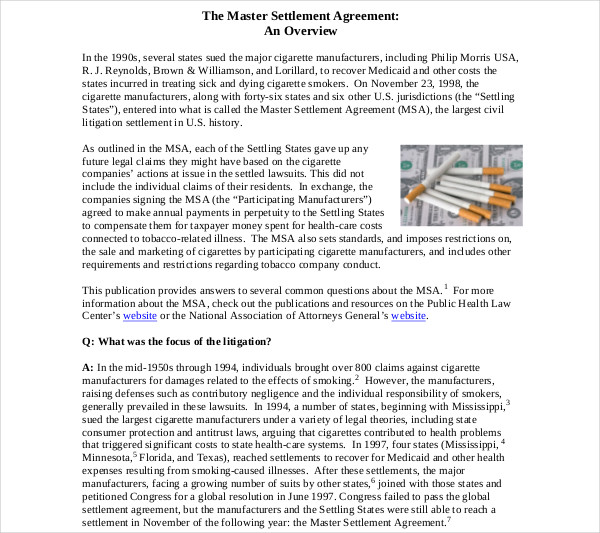 7+ Settlement Agreement Examples - PDF, DOC - master settlement agreement