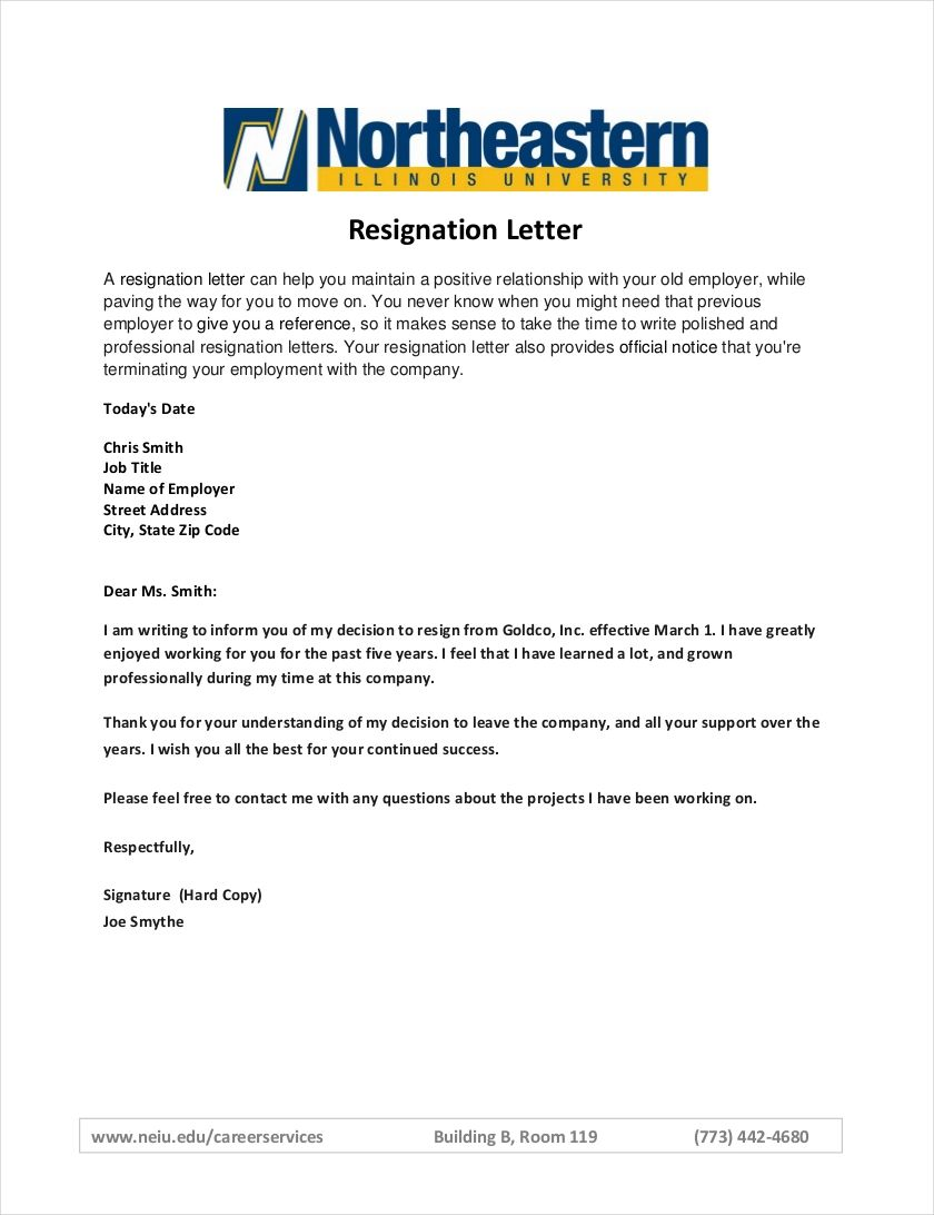formal resign letter format