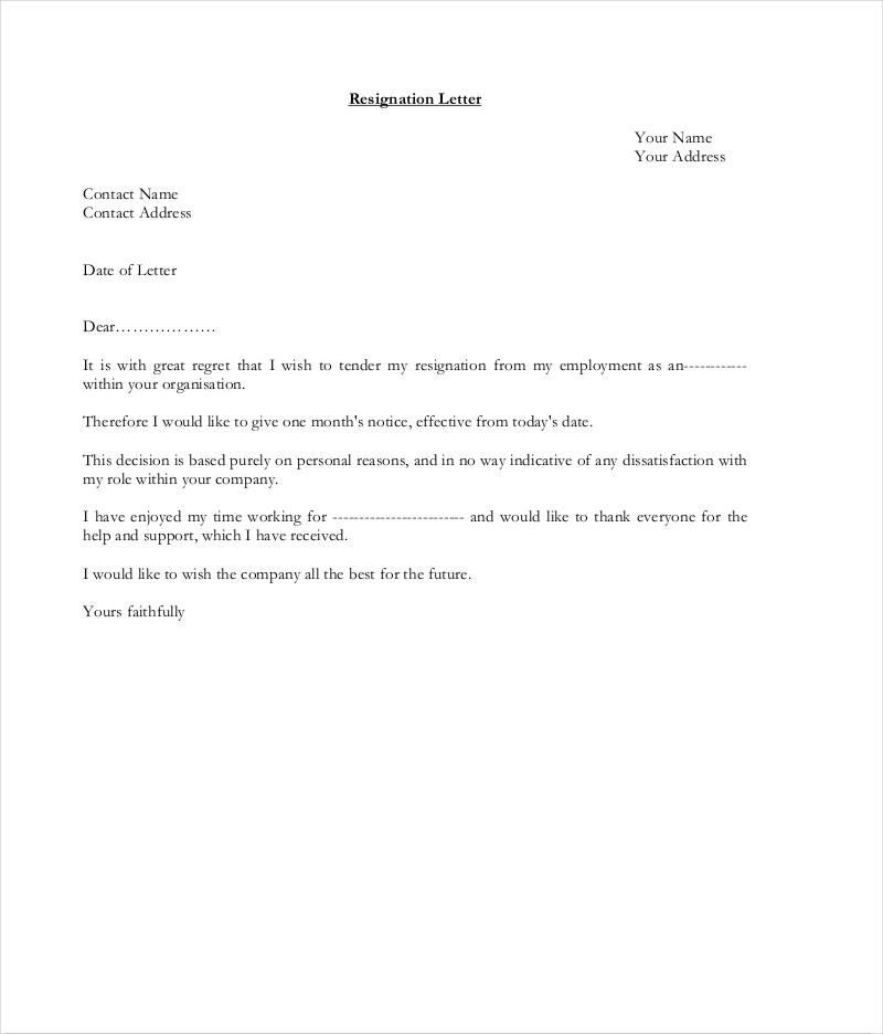 9+ Official Resignation Letter Examples - PDF - Resignation Letter In Pdf