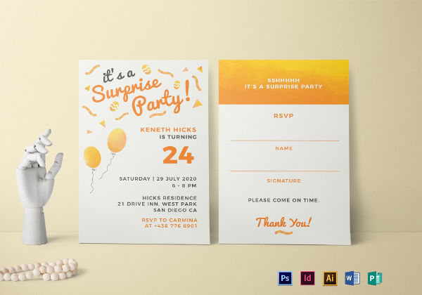 15+ Surprise Party Invitation Designs and Examples \u2013 PSD, AI