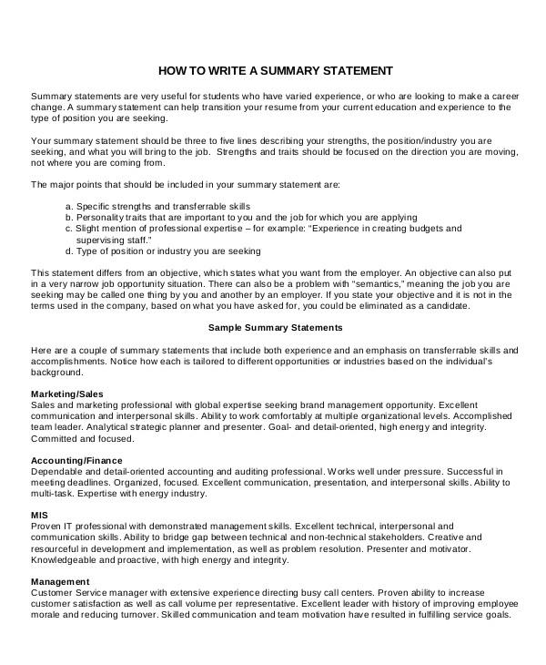 resume tips career summary