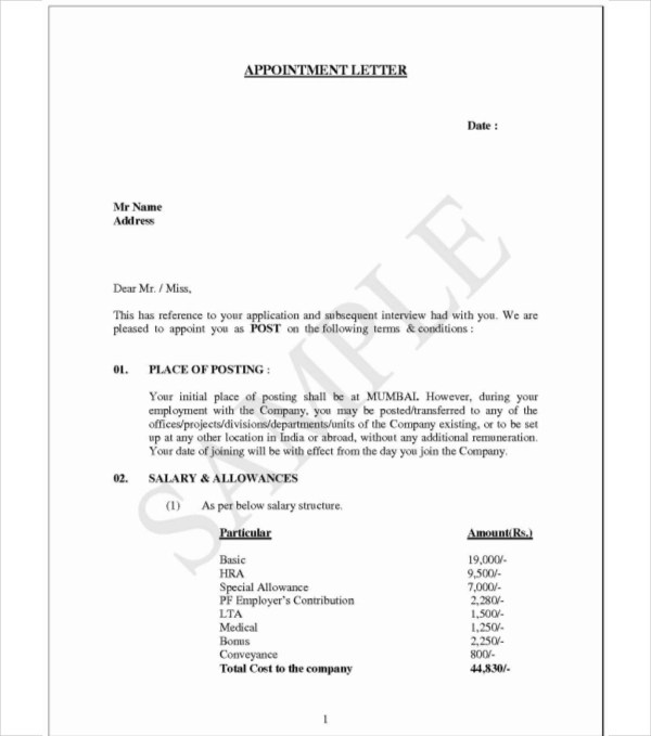 Examples on Job Appointment Letter for New Employees (PDF) - job appointment letter
