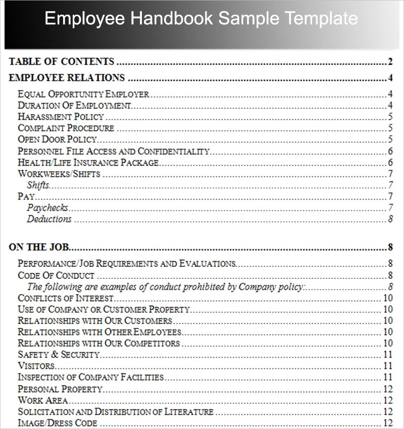Employee Handbook Outline Examples - PDF - code of conduct example