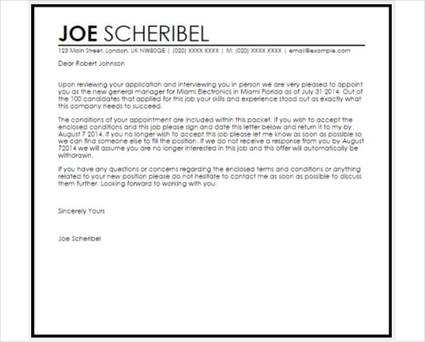 Examples on Job Appointment Letter for New Employees (PDF)