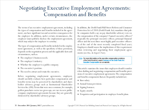7+ Sample Executive Employment Agreements Sample