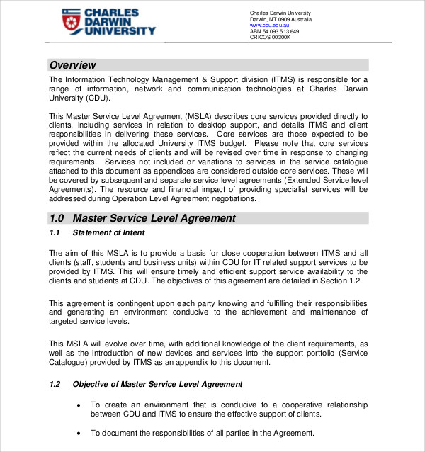 14+ Service Level Agreement Examples - DOC, PDF - service level agreement