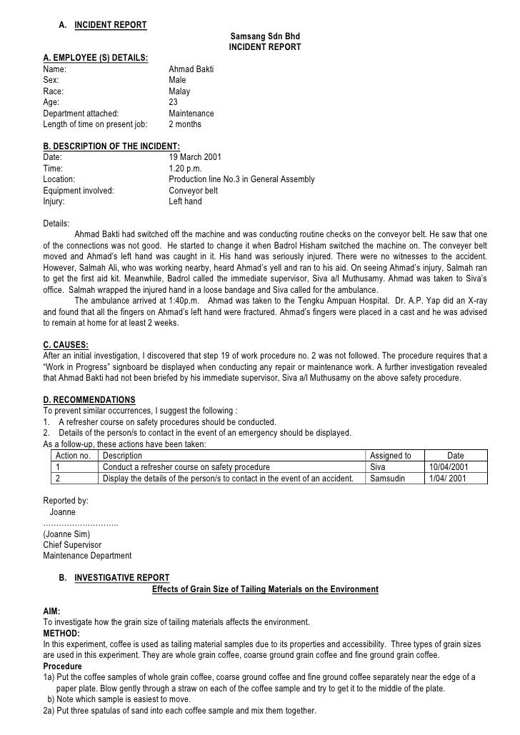 sample employee incident report letter