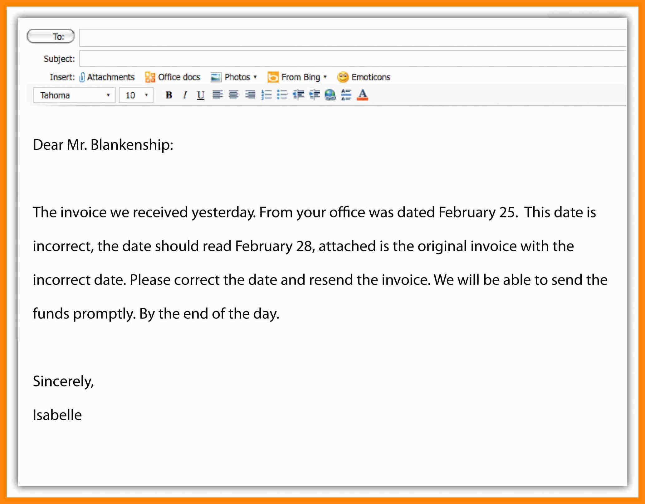 Writing A Professional Email Template - Costumepartyrun