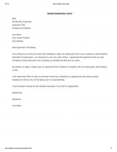 29+ Resignation Letter Examples in PDF - example of a resignation letter