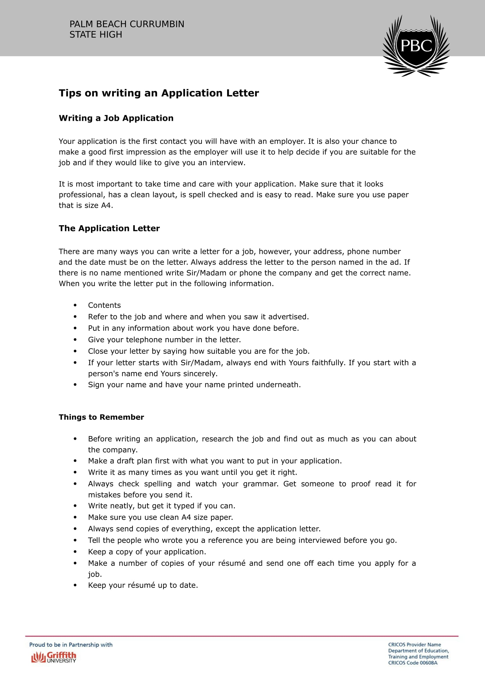 cover letter on job application