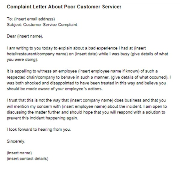 2+ Complaint Letter to Service Provider Examples - PDF - example complaint letter