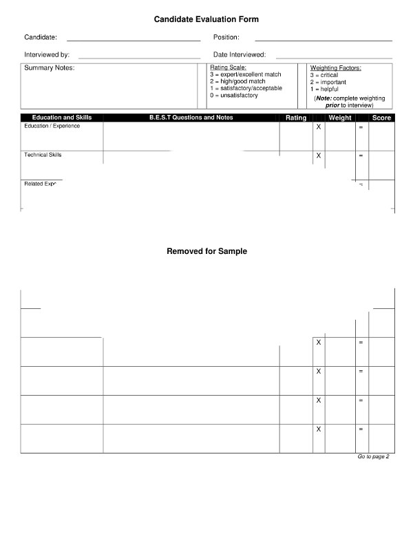 9+ Examples of Candidate Evaluation Forms - PDF