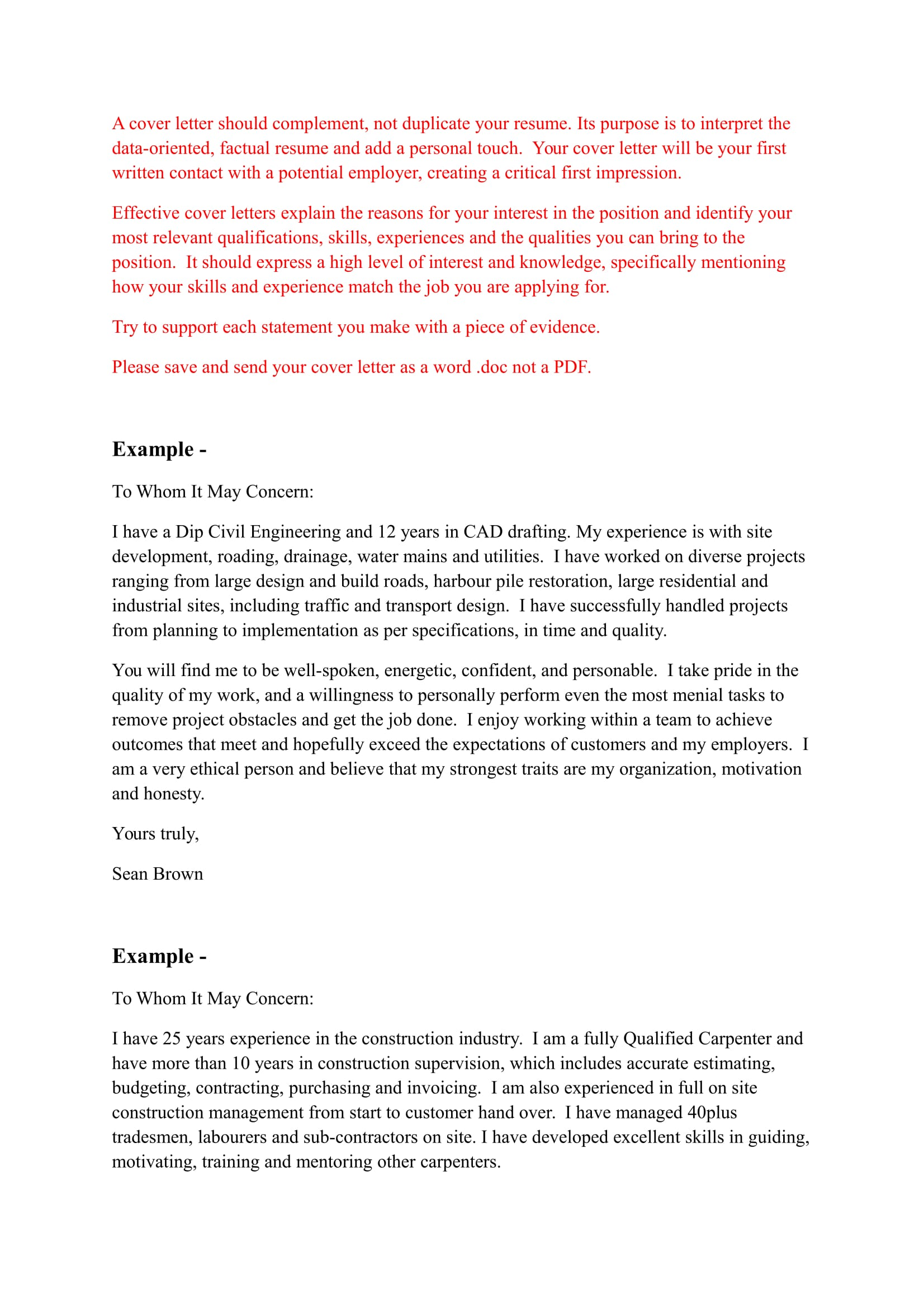 cover letter examples applying for a job