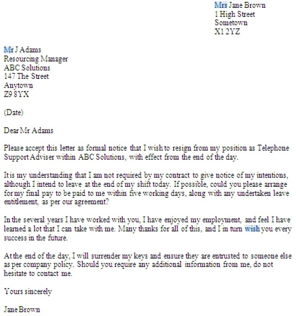 No Notice Resignation Letter Examples (PDF) Examples