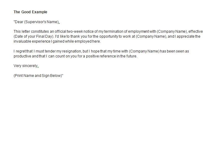 Two Weeks Notice Resignation Letter Examples - PDF - example of resignation letters