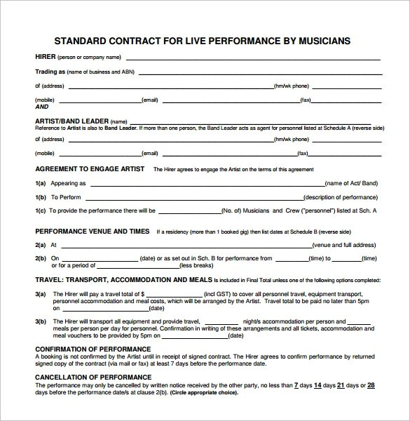 5+ Band Contract Examples - PDF - sample artist contract template