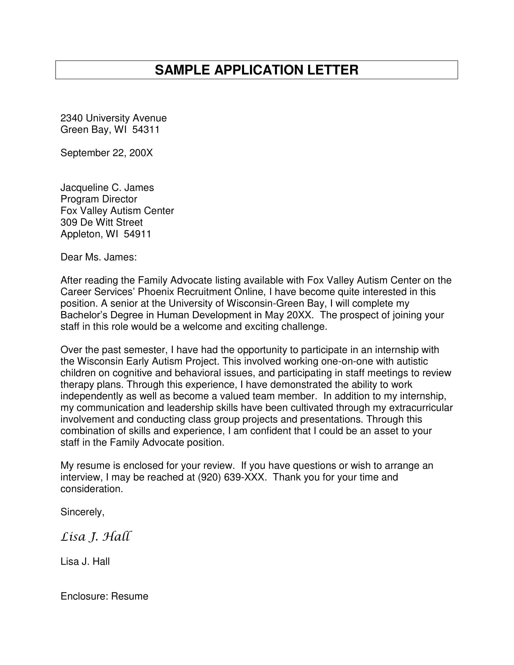a sample letter