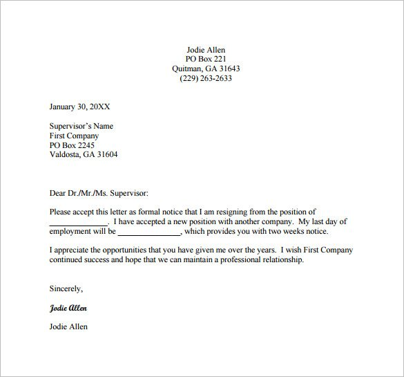 8+ Professional Resignation Letter Examples - PDF Examples