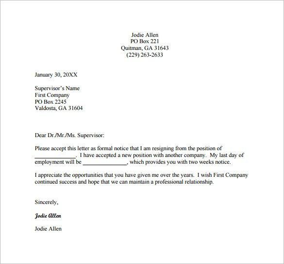 8+ Professional Resignation Letter Examples - PDF