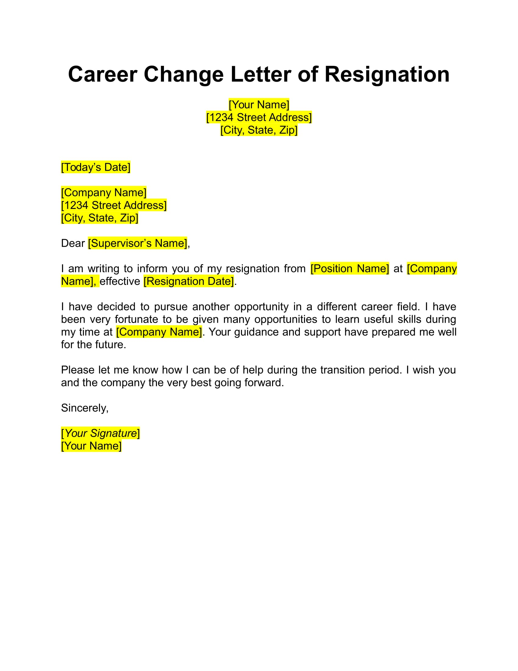 how to write resignation letter to company