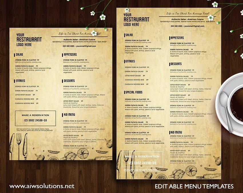 free menu templates for restaurants