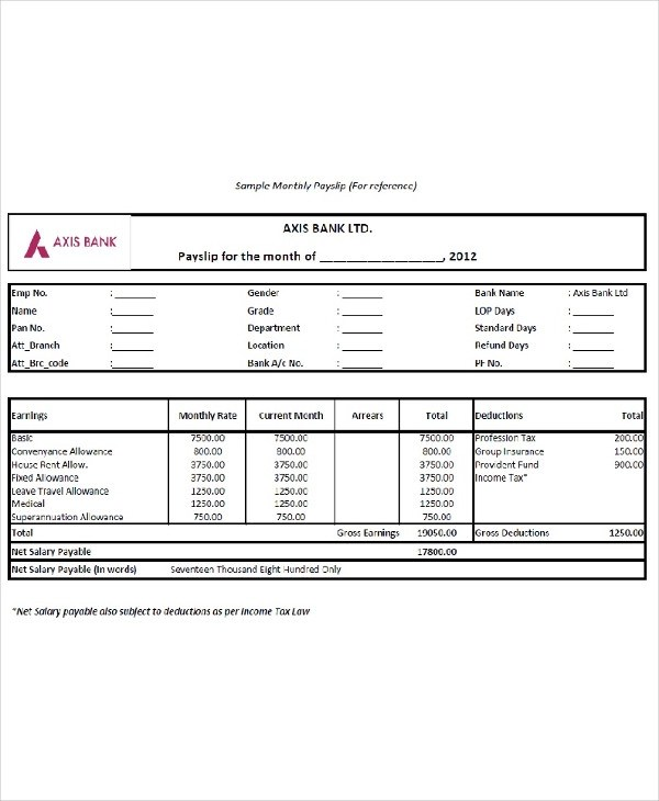 10+ Salary Slip Examples - PDF, Word Examples