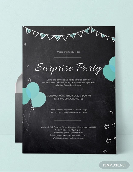 18+ Surprise Party Invitation Designs and Examples - PSD, A4 Examples