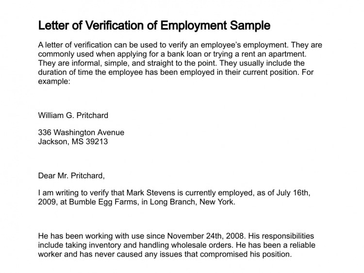 9+ Verification of Employment Letter Examples (PDF)