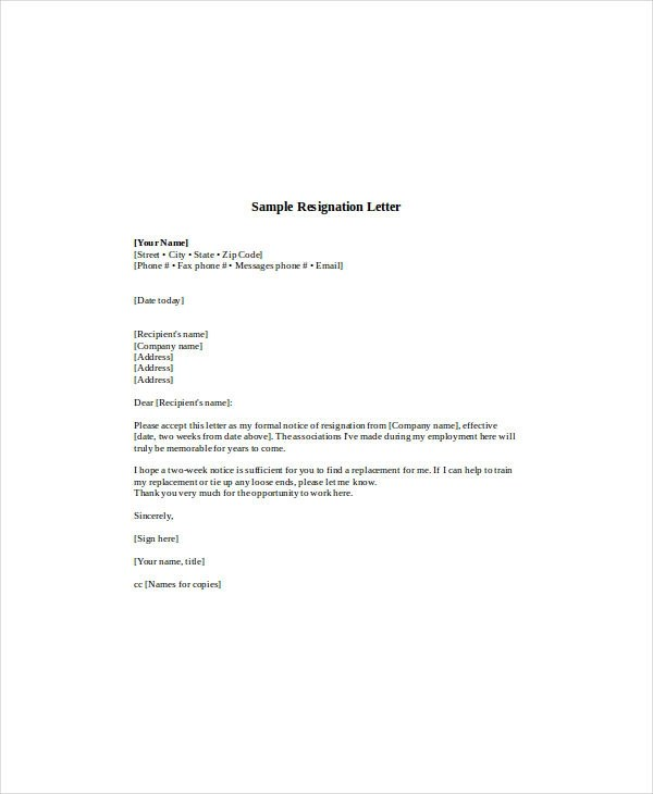 12+ Standard Resignation Letter Examples - PDF, Word - Resignation Letter In Pdf