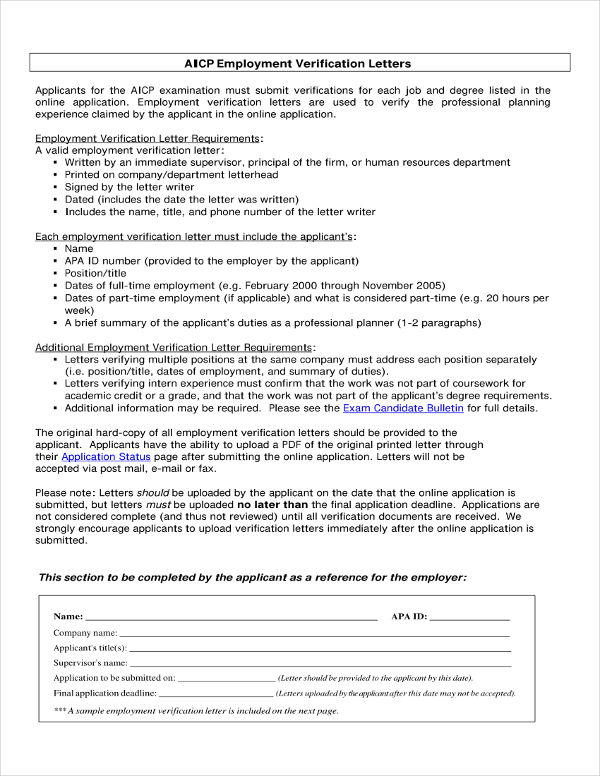 20+ Letter of Verification Examples - PDF - example employment verification letter