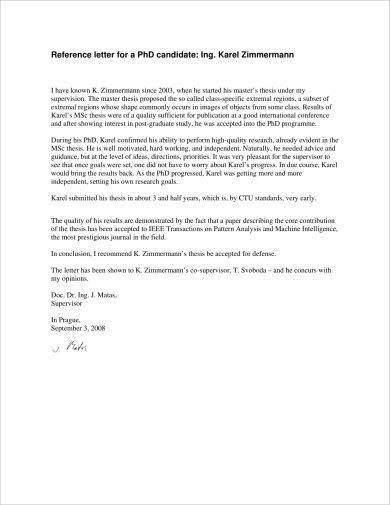 9+ Academic Reference Letter Examples - PDF Examples