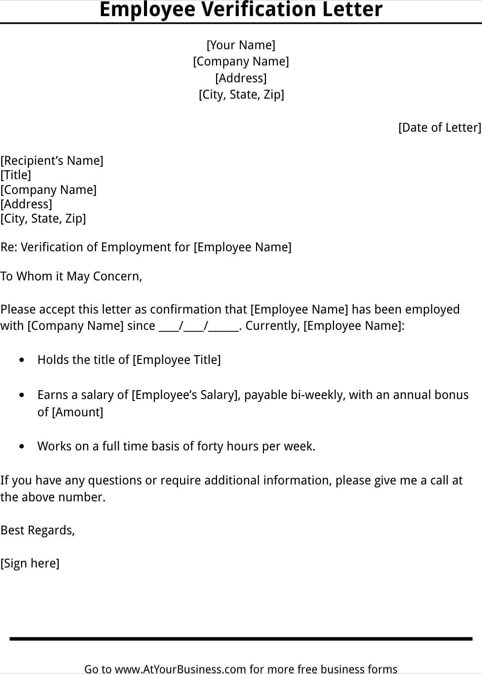 employee verification letter example - Onwebioinnovate - sample income verification letter