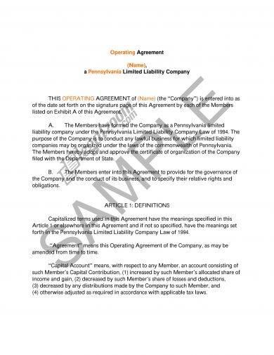 example llc operating agreement