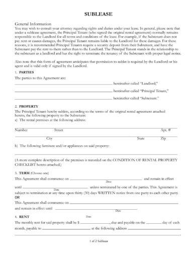 10+ Sublease Agreement Examples - PDF, DOC - Sample Sublease Agreement