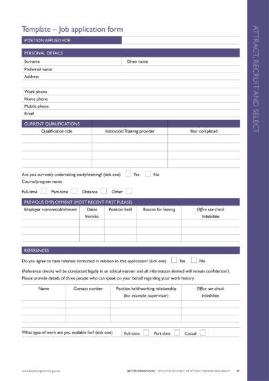 13+ Free Blank Employment Application Examples - PDF