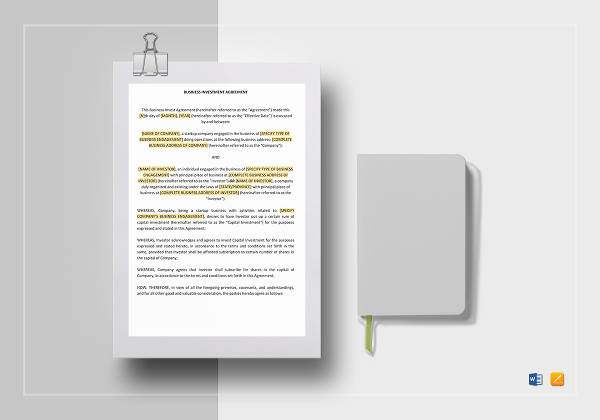 35+ Printable Agreement Examples - PDF, DOC - investment agreement doc