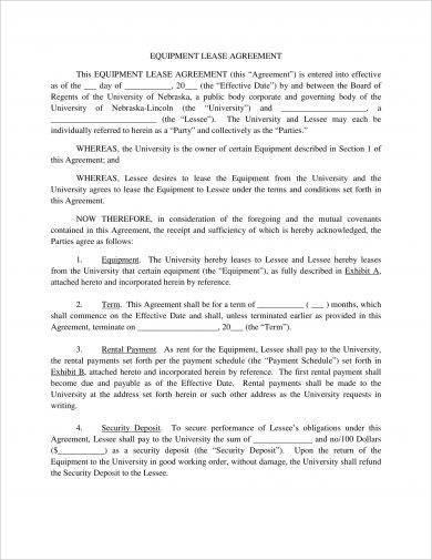10+ Equipment Lease Agreement Examples - PDF, DOC - equipment rental agreement