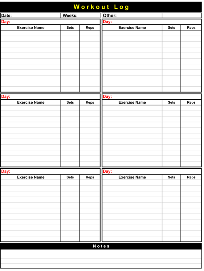exercise journal template