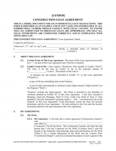 9+ Construction Loan Agreement Examples - PDF - loan agreement example