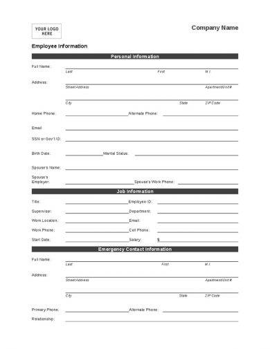 10+ Employee Information Form Examples - PDF, Word - personal contact information form