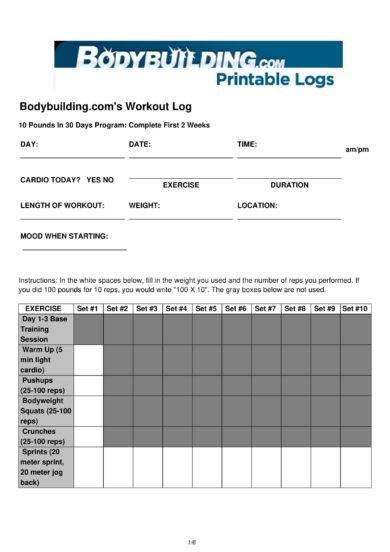 14+ Printable Workout Log Examples - PDF - printable workout sheet