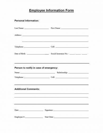 basic employee information form