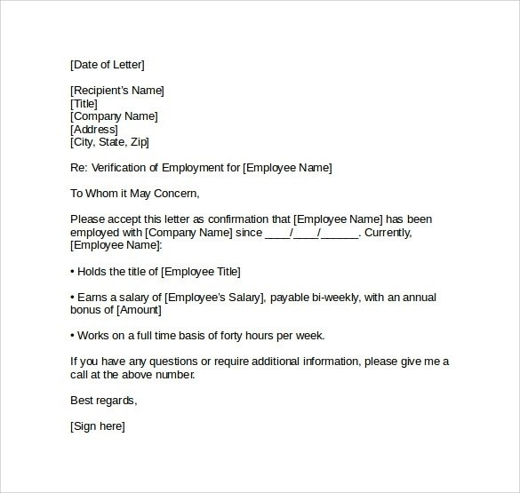 10+ Employee Verification Letter Examples - PDF, Word - employment letter