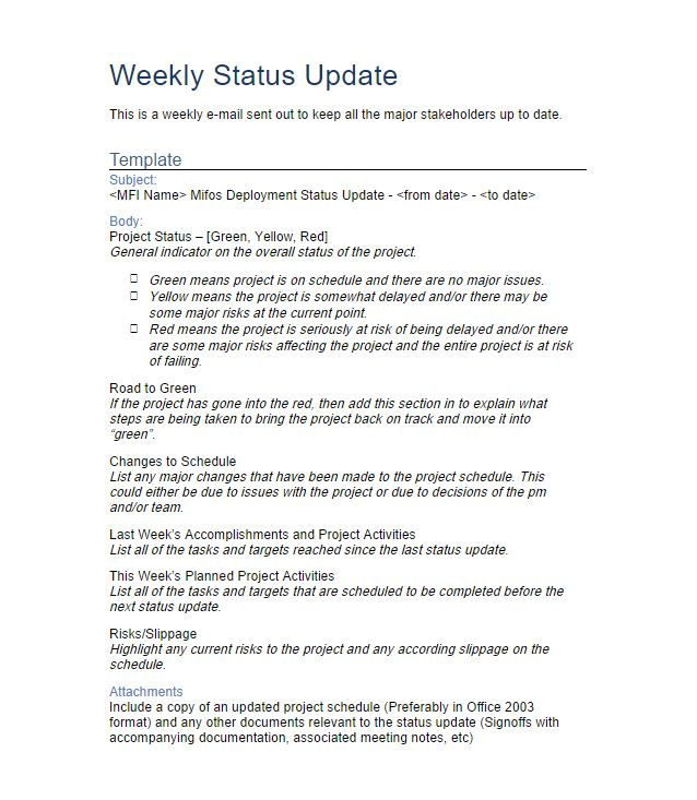 8+ Weekly Status Report Examples - PDF Examples