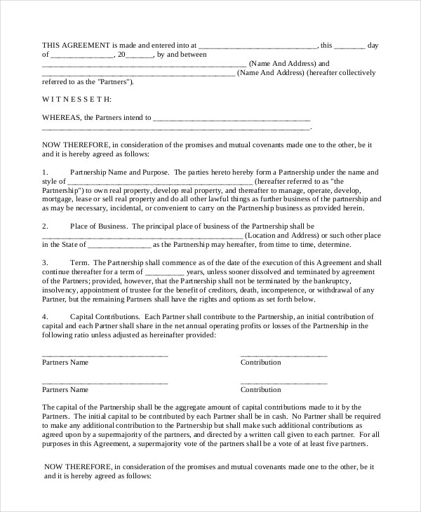 13+ General Partnership Agreement Samples and Examples - PDF, Word - business partner agreement