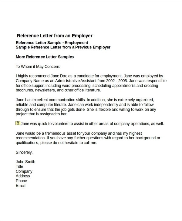 8+ Reference Letter for Employee Examples - PDF