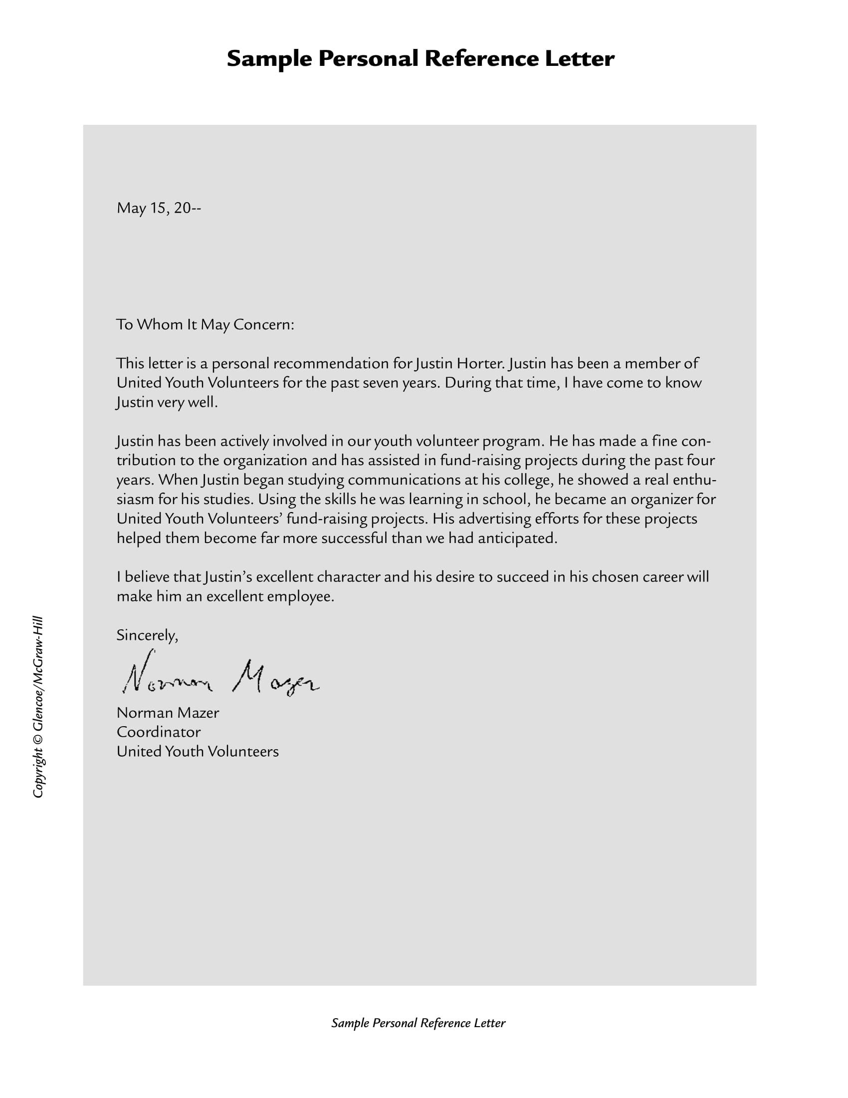 personal referral letters