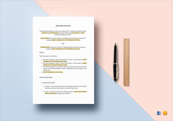 11+ Room Rental Agreement Examples - PDF, Word Examples